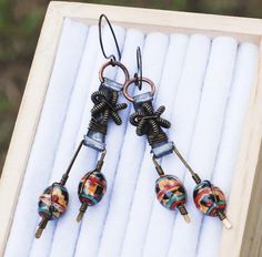 Dancing Aborigines Brown Ceramic Bead Wire Wrap Earrings Fashion Walk Unique