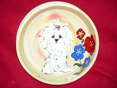 Havanese 8 Ceramic Dog Bowl for Food and Water Personalized at no Charge Signed by Artist Debby Carman *** Want additional info? Click on the image.(This is an Amazon affiliate link and I receive a commission for the sales)