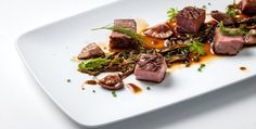 Delicious #DuckRecipe from @Russ Maloney British Chefs   Duck breast with spring onion, pickled shiitake mushrooms, garden herbs and soya reduction. Carb Free!
