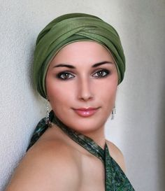78-48 Olive Green Turban Hat and Scarf Set, Head Wrap, Alopecia Head Scarf, Chemo Hat, Hat & Scarf Set
