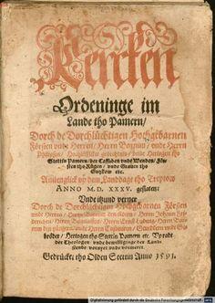 Herzog Barnim IX. von Pommern, : Kercken Ordeninge im Lande tho Pamern, Olden Stettin, 1591