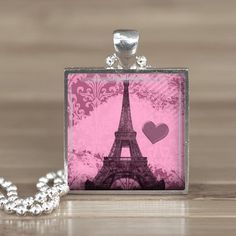 25mm pink eifle tower paris silver square pendant by Aleareashop, $7.95