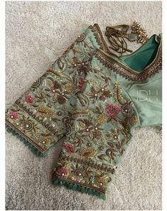 Wedding Saree Blouse Designs, Pattu Saree Blouse Designs, Designer Blouse Patterns, Fancy Blouse Designs, Zardosi Work Blouse, Wedding Blouses, Blouse Back Neck Designs, Hand Work Blouse Design, Stylish Blouse Design