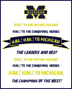 #Michigan fight song printable I made - Collegiate Printables
