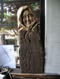 Oak Wall Mounted or Wall Hanging sculpture by artist Martina Netíková titled: 'Beauty of Aged (Carved Wood of Loved Old Lady Face Portrait Commission)'