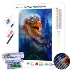 5d Diamond Painting, Diamond Art, Kits For Kids, Eagles, Round Diamonds, Drill, Artwork, America, Hole Punch