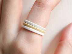 Stackable Jewelry  Triple Stack Porcelain Rings by clacontemporary, £28.00