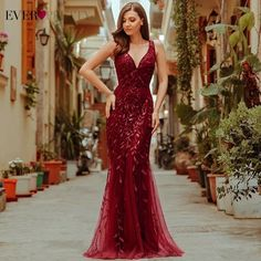 Online Shop Burgundy Evening Dresses Ever Pretty V-Neck Mermaid Sequined Formal Dresses Women Elegant Party Gowns Lange Jurk 2020 Long Party Gowns, Elegant Party Dresses, Cheap Evening Dresses, Mermaid Evening Dresses, Formal Dresses For Women, Prom Dresses Online, Dress Formal, Burgundy Evening Dress, Little Girls