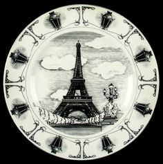 222 Fifth SLICE OF LIFE Eiffel Tower Dinner Plate 2638876 #222Fifth