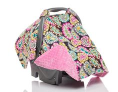 Car Safety Seats Infant Car Seat Cover And Hood Cover In Paris Print And Hot Pink Minky Attractive Appearance Car Seat Accessories