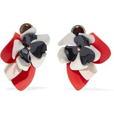 Marni Leather, steel and horn clip earrings ($355) ❤ liked on Polyvore featuring jewelry, earrings, coral, horn earrings, clip on earrings, marni, marni earrings and oversized jewelry