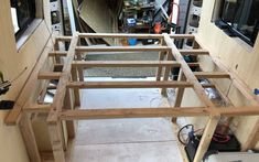 How to Build a DIY Van Conversion Bed Frame - Fit Two Travel Van Conversion Bed Frame, Van Conversion Interior, Camper Van Conversion Diy, Campervan Bed, Campervan Interior, Bed Frame With Storage, Diy Bed Frame, Storage Beds, Camper Beds