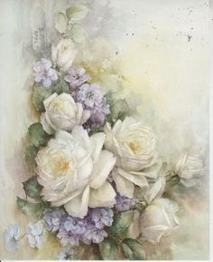 White Roses & Violets #44 by Sonie Ames China Painting Study 1971