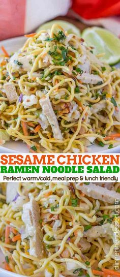 Ramen Noodle Salad - Ramen Noodle Salad With Chicken Green Onions Carrots Toasted Almonds In A Quick Easy Vinaigrette Is A Healthy Easy Lunch Option You Can Eat Cold Or You Can Enjoy Warm. Ramen Noodle Salad, Ramen Noodles, Noodle Noodle, Cold Noodles, Lunch Recipes, Cooking Recipes, Healthy Recipes, Delicious Recipes, Yummy Food