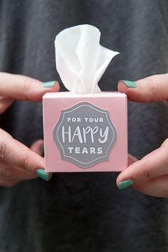 Use our free Cricut Explore file to print and cut these darling mini tissue boxes for your wedding ceremony!