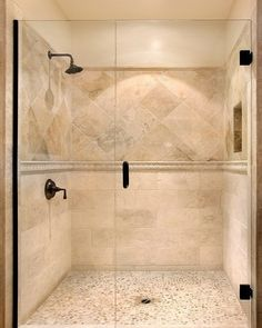 Travertine tile shower STRAIGHT ON BOTTOM, THEN ACCENT LINER, THEN DIAGONAL AT EYE LEVEL