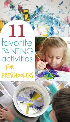 Great list of the best painting activities for preschoolers! Includes kid favorites such as spin painting, marble rolling, and shaving cream marbling.