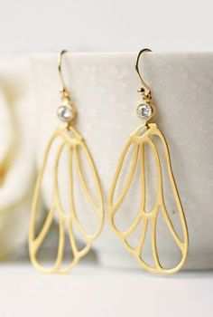 Gold Angel Wing Earrings Matte Gold Dangle Wing