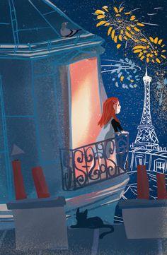 Feux d'artifice du jour de l'an © Pioupiourico - illustration Georgia Noël-Wolinski. #culturefrançaise #france #patrimoine #jeu #enfant #famille #transmission #tradition #7familles #familyfirst