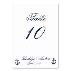 Navy Blue Nautical Wedding Table Cards