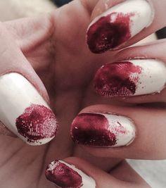Bloody Fingerprint nails for Halloween at newkeybeauty.com