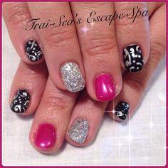 Pink, Black & Silver Swirls - Nail Art Gallery #nailart www.traiseasescapespa.com