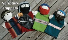 Scripture character plush hand puppets.  Actually includes pattern!