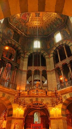 The Carolingian Octagon (Palatine chapel). The Octagon in the centre of the Cathedral was erected as the chapel of the Palace of Aachen between 796 and 805 on the model of other contemporary Byzantine buildings (e.g. the Basilica of San Vitale in Ravenna and the Little Hagia Sophia in Constantinople).[11] The architect was Odo of Metz. The span and height of Charlemagne's Palatine chapel was unsurpassed north of the Alps for over two hundred years