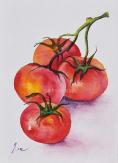 Vegetable art. Tomatoes. Vegetable painting. Tomato watercolor. Original tomato painting. Original vegetable watercolor painting. Tomato art