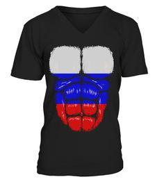 9c53b469b50 Russia flag hulk muscles - V-neck T-Shirt Unisex  Shirts  VolleyballTshirt