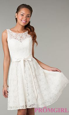 Short Sleeveless Lace Dress at PromGirl.com