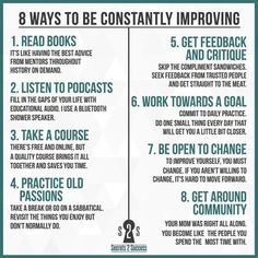 8 ways to be constantly improving. : coolguides