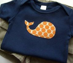 Baby Boy Clothes // Size 6-12 Months Bodysuit // Navy Blue and Orange // Whale Applique