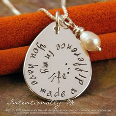 Customize a Round Charm Personalized Make A Difference Sterling Silver Necklace Professors Appreciation Gift. Choice of Sterling Silver Chain for Teachers Great Gift for All