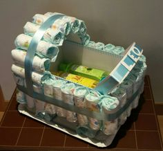 Tarta de pañales en forma de carrito! Dento, toallitas Dodot y juego de gel…