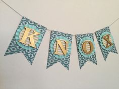 Teal, Mint, Chartreuse Gold Name Banner. Aztec Banner. Tribal Banner. Pow Wow Party. Baby Shower Banner. Nursery Banner. Photo Prop.