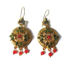 Jade Turquoise and Coral Gold Flower Earrings by petracollection, $34.67