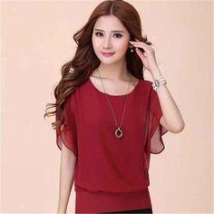New Womens Tops Fashion Women Summer Chiffon Blouse Plus Size Ruffle Batwing Short Sleeve Casual Shirt Black White Red Blue