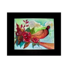Art Prints-Watercolor-Bird on a Limb-Original Painting by Georgi... ($41) ❤ liked on Polyvore featuring home, home decor and wall art