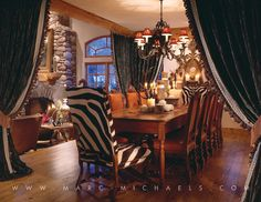 Rustic Lodge dining room, wooden table, zebra chair, Vail, Colorado