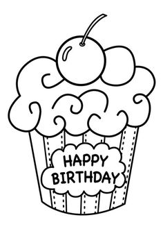 Cake Happy Birthday Party Coloring Pages Muffin For Kids
