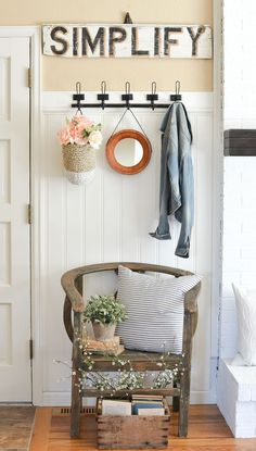 Simple Farmhouse Style Entryway. Small entryway styled with vintage and farmhouse decor.