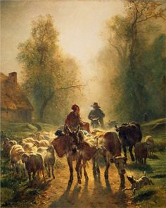 Constant Troyon (French 1810–1865) [Barbizon School] On the Way to the Market, 1859. Oil on canvas, 260.5 x 211 cm. Hermitage, St. Petersburg.