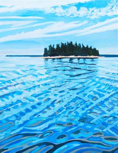 Island Reflections: contemporary, realism, seascape oil painting on linen from 2014 by artist Lindsay Hopkins-Weld, measuring 28 x 22 x 2 inches.