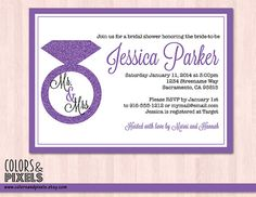 Bridal Shower Invitation Bachelorette by colorsandpixels on Etsy