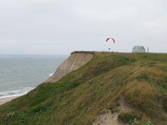 Bovbjerg cliffs, Denmark  para-sailing  Nazi bunker