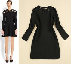 Morpheus Boutique  - Black Hollow Out Long Sleeve Flare Designer Dress, CA$102.55 (http://www.morpheusboutique.com/new-arrivals/black-hollow-out-long-sleeve-flare-designer-dress/)