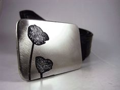 Flowers Belt Buckle  Etched Stainless Steel  by RhythmicMetal, $80.00