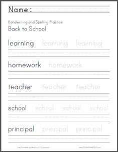 Back to School Writing Worksheet - Free to print.