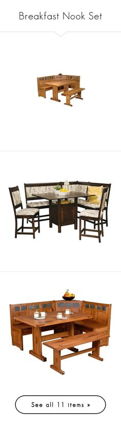 """""""Breakfast Nook Set"""" by suelb ❤ liked on Polyvore featuring home, furniture, oak shelf, storage furniture, rustic shelf, corner storage bench, storage shelves, dinner table and chairs, home storage furniture and handmade furniture"""
